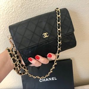 CHANEL Black Leather CC Clutch Mini Flap Bag